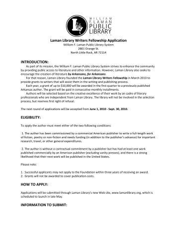 Laman Library Writers Fellowship Application INTRODUCTION ...