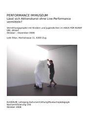 PERFOMANCE IM MUSEUM Projekt-Dokumentation - kuverum