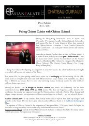 Pairing Chinese Cuisine with Château Guiraud - Asian Palate