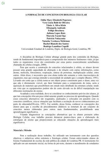 A FORMAÇÃO DE CONCEITOS EM BIOLOGIA ... - Axpfep1.if.usp.br