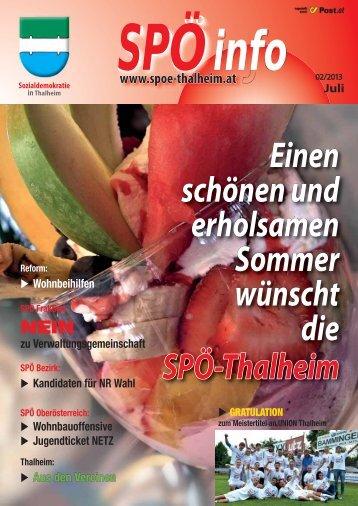 Einen schönen und erholsamen Sommer wünscht die SPÖ-Thalheim