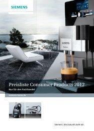 Preisliste Consumer Products 2012 - Siemens Hausgeräte