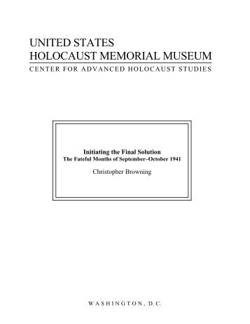 Initiating the Final Solution - United States Holocaust Memorial ...