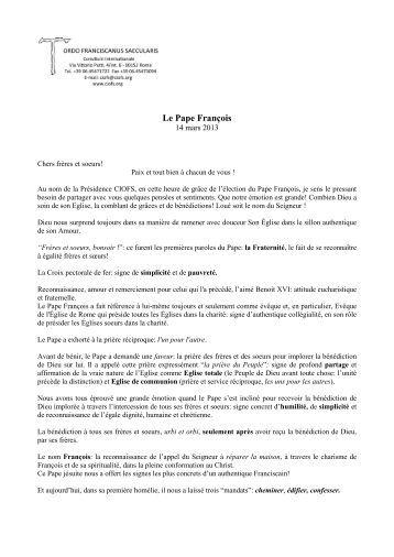 Le Pape François - Ciofs.org