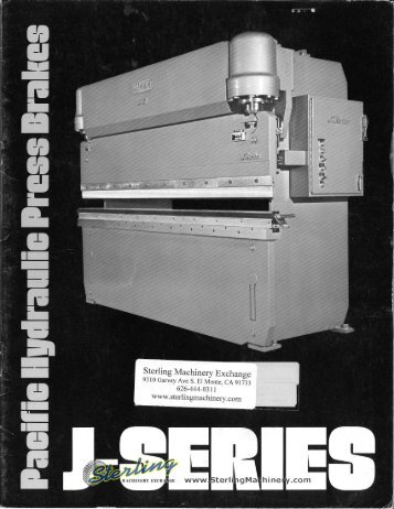 Pacific Hydraulic Press Brakes J Series - Sterling Machinery