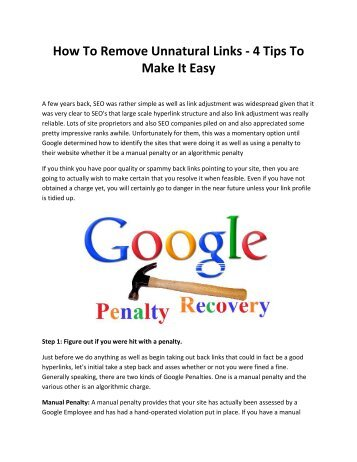 How To Remove Unnatural Links - 4 Tips To Make It Easy