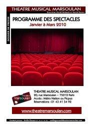 Programme des spectacles Janvier-mars 2010 - Théâtre Musical ...