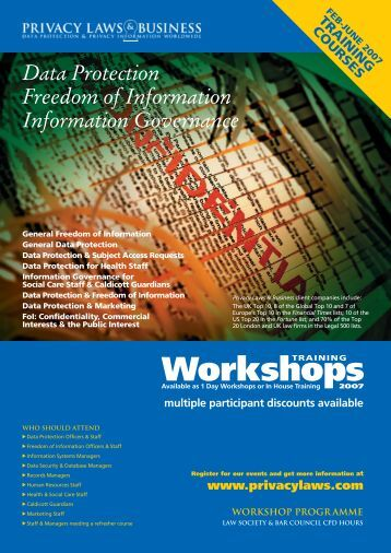 Public Workshop or In-House Training? - Privacy Laws & Business