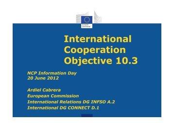 International Cooperation Objective 10.3 - RTD