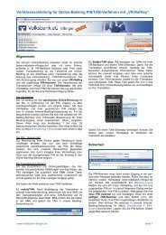 Verfahrensanleitung für Online-BankingPIN/TAN ... - Volksbank eG