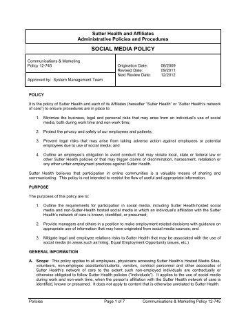 OGC-Complex Litigation -- Social Media Policy ... - Sutter Health