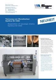Trennung von Wurstketten OptiCut SI-1000 ... - Singer & Sohn GmbH
