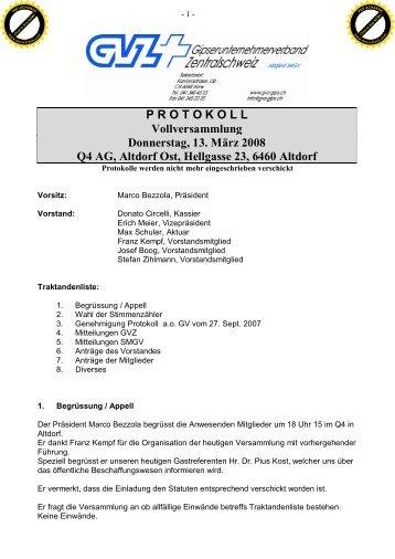 PROTOKOLL Vollversammlung Donnerstag, 13. März 2008 Q4 AG ...