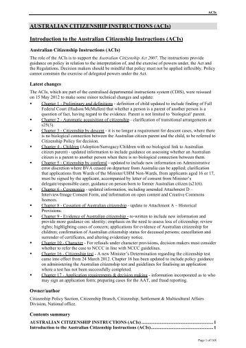 Australian Citizenship Instructions (ACIs)
