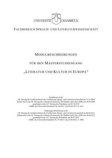 literatur und kultur in europa - Universität Osnabrück