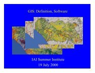 GIS: Definition, Software IAI Summer Institute 19 July 2000