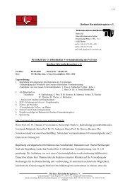 Protokoll der 3. öffentlichen Vorstandssitzung des Vereins Berliner ...