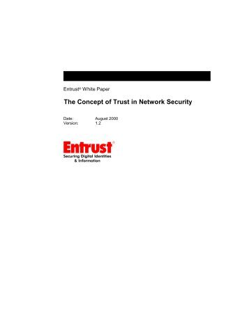 The Concept of Trust in Network Security - Entrust