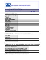 SUPPLIERS' DATABASE REGISTRATION FORM - Umgeni Water