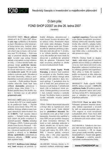 O čem píše FOND SHOP 2/2007 z 26.1.2007
