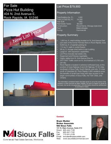 Pizza Hut Spec Sheet.pub - Sioux Falls Commercial Real Estate