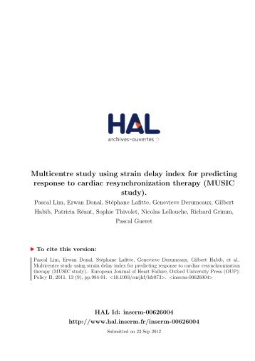 Multicentre study using strain delay index for predicting response to ...