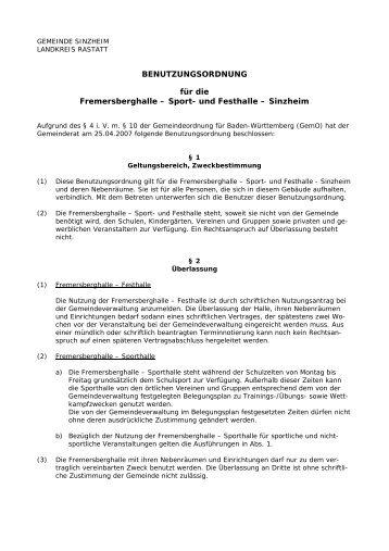 Fremersberghalle Sinzheim - Benutzungsordnung - Gemeinde ...