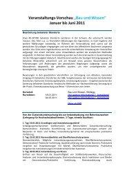 """Veranstaltungs-Vorschau """"Bau und Wissen"""" Januar bis Juni 2011"""