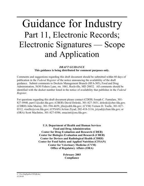 Draft Guidance for Industry - 21 CFR Part 11:Your FDA Compliance ...