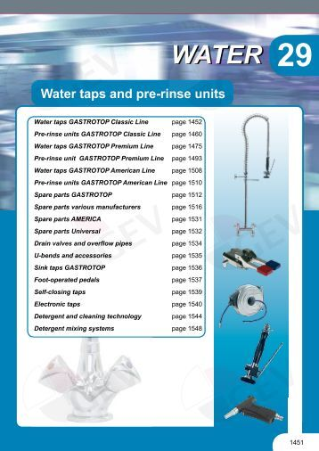 Water-Water taps and pre-rinse units