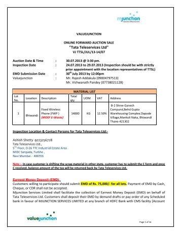 Tata Teleservices Ltd - Mumbai - Ewaste Item - Login - Metaljunction