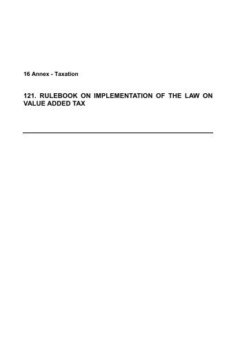 121. rulebook on implementation of the law on value added tax
