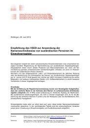 Empfehlung des VSED zur Anwendung der Namensschreibweise ...