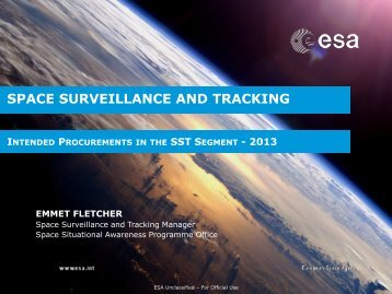 SPACE SURVEILLANCE AND TRACKING - emits - ESA