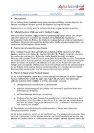 Nutzungsbedingungen für unsere Facebook-Fanpage - alpha-board