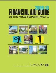 2009-10 financial aid guide - West Los Angeles College