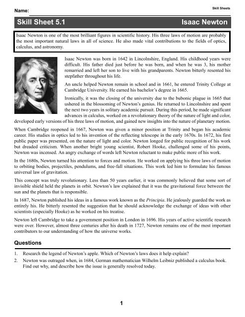 isaac newton research paper