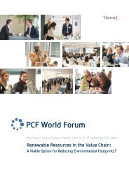 Renewable Resources in the Value Chain: - PCF World Forum