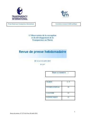 Revue de presse n° 277 du 24 au 30 août 2013 - Transparency