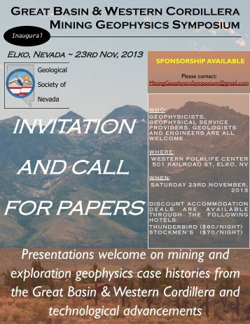 INVITATION AND CALL FOR PAPERS - Geological Society of Nevada