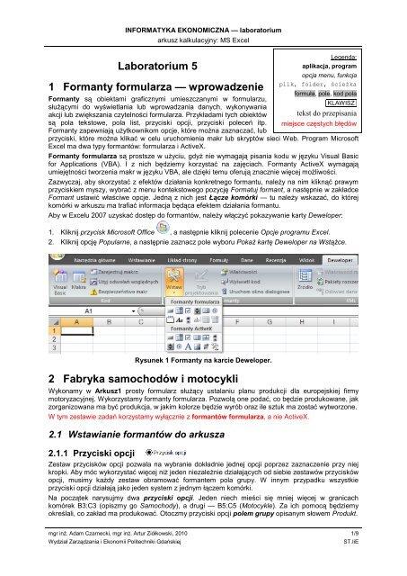MS Excel - formanty formularzy - Wydział Zarządzania i Ekonomii