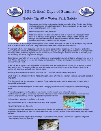 Safety Tip 9 - Water Park