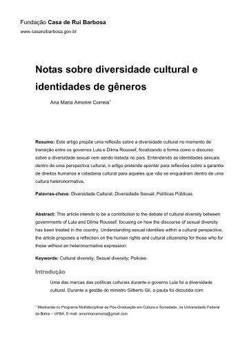 Notas sobre diversidade cultural e identidades de gêneros