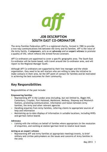 JOB DESCRIPTION SOUTH EAST CO ORDINATOR Key .  Caseworker Job Description