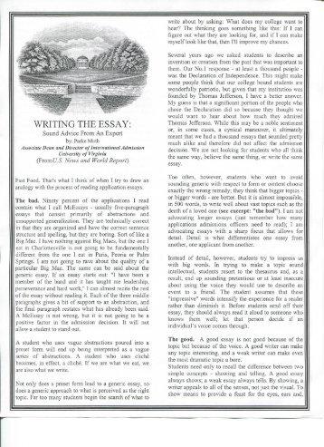WRITING THE ESSAY: