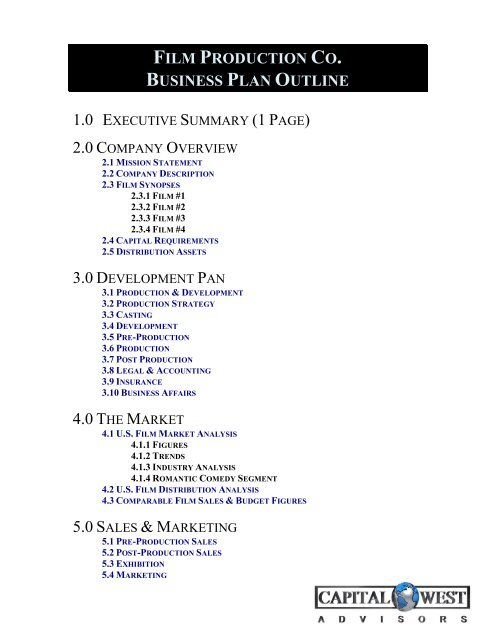 View a Sample Film Business Plan Outline - Capital West Advisors