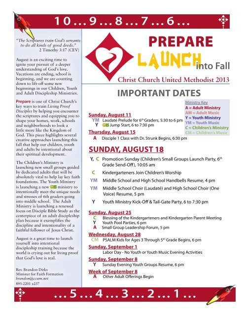 dates, times and locations - Christ Church United Methodist
