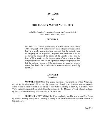 BY-LAWS OF ERIE COUNTY WATER AUTHORITY