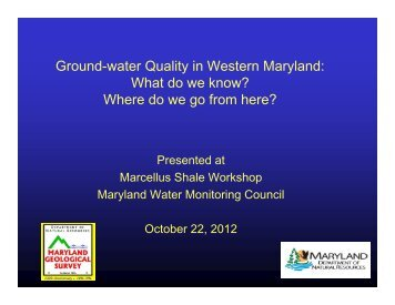 Ground-water Quality in Western Maryland - Maryland Department ...