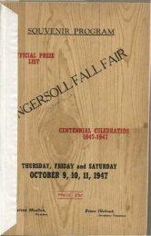 1947 Ingersoll Fall Fair Souvenir Program - Oxford County Library
